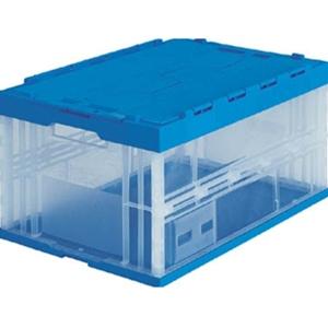 TRUSCO 折りたたみコンテナ「蓋付」75L 透明/ブルー枠 TRF75B 8000TM