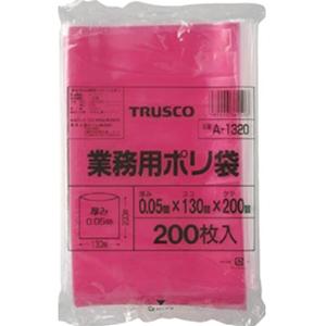 TRUSCO 小型赤色ポリ袋 0.05x200x130mm 200枚入り A1320R 8539