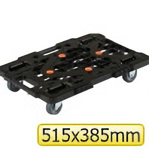 TRUSCO 樹脂製平台車ルートバン515x385黒メッシュタイプ MPK500BK 8000