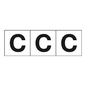 TRUSCO アルファベットステッカー 30×30 「C」 白 3枚入 TSN30C 3100