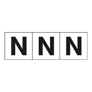 TRUSCO アルファベットステッカー 30×30 「N」 白 3枚入 TSN30N 3100