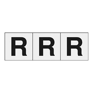 TRUSCO アルファベットステッカー 30×30 「R」 透明 3枚入 TSN30RTM 3100