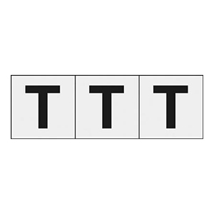TRUSCO アルファベットステッカー 30×30 「T」 透明 3枚入 TSN30TTM 3100