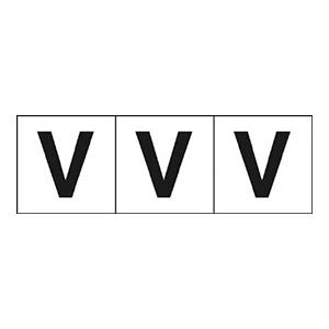 TRUSCO アルファベットステッカー 30×30 「V」 白 3枚入 TSN30V 3100