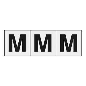 TRUSCO アルファベットステッカー 50×50 「M」 透明 3枚入 TSN50MTM 3100