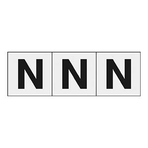 TRUSCO アルファベットステッカー 50×50 「N」 透明 3枚入 TSN50NTM 3100
