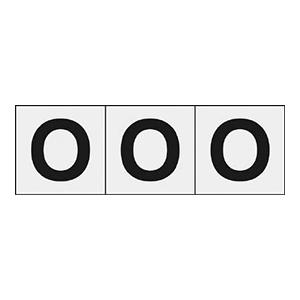 TRUSCO アルファベットステッカー 50×50 「O」 透明 3枚入 TSN50OTM 3100