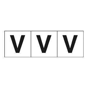 TRUSCO アルファベットステッカー 50×50 「V」 白 3枚入 TSN50V 3100