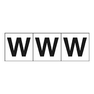 TRUSCO アルファベットステッカー 50×50 「W」 白 3枚入 TSN50W 3100