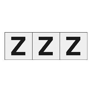 TRUSCO アルファベットステッカー 50×50 「Z」 透明 3枚入 TSN50ZTM 3100