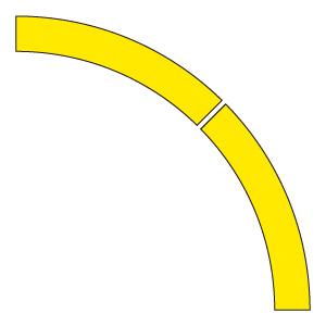 ドア開閉表示ステッカー 819−61 アール型 黄