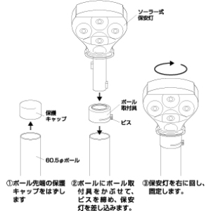 ソーラー式保安灯 824−79 (60.5φ用)