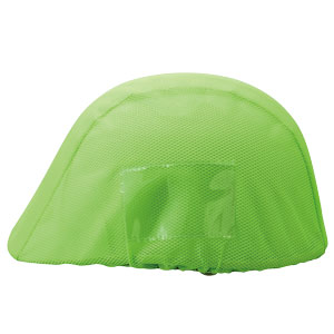 防災・訓練用品 831−744 ヘルメットカバーメッシュポケット付 蛍光緑