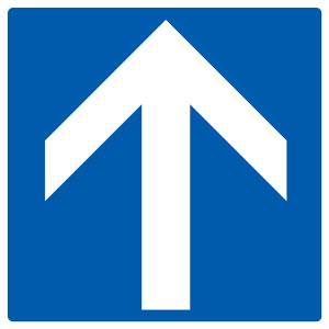矢印ステッカー 862−35 青地白矢印