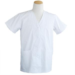 白衣 女子襟なし半袖 C251 ホワイト