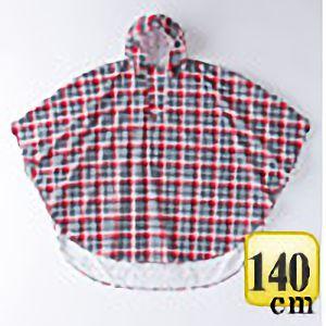 レインポンチョ�U P−02 チェック赤×黒 140