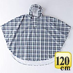 レインポンチョ�U P−02 チェック黒×グレイ 120