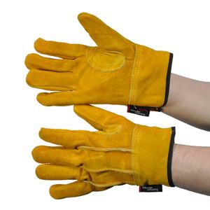 皮革手袋 カラー背縫い革手内綿付き フィット&ガード YE103−LA