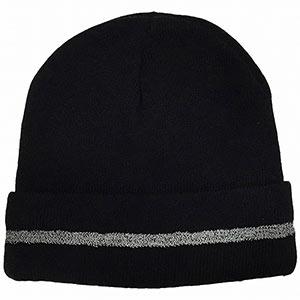 防寒対策用品 ワッチ帽 反射ライン入り AG−68 ブラック
