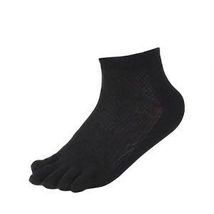 メッシュ靴下 五本指カカト付 ショート 黒 3足組 SS320−3P