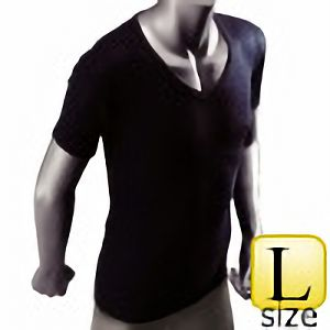 防寒 サーモアンダーシャツ 半袖Vネック 黒 Lサイズ WT−211−2BK